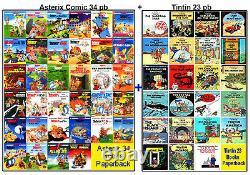 Asterix 34 Books Box Set + Tintin 23 Graphic Books Collection, Big Size PBs, NEW
