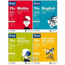 Bond 11+ Maths, English 4 Books Set Assessment Papers (Book 2) (Age 9-10)